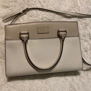 White and Pale Pink Kate Spade Leather Satchel